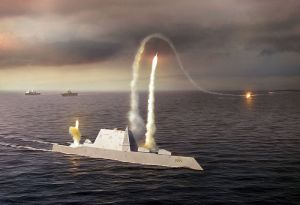 Artist's rendering of the Zumwalt class destroyer